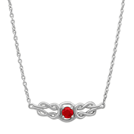 Round Ruby Vintage Necklace (18 in)