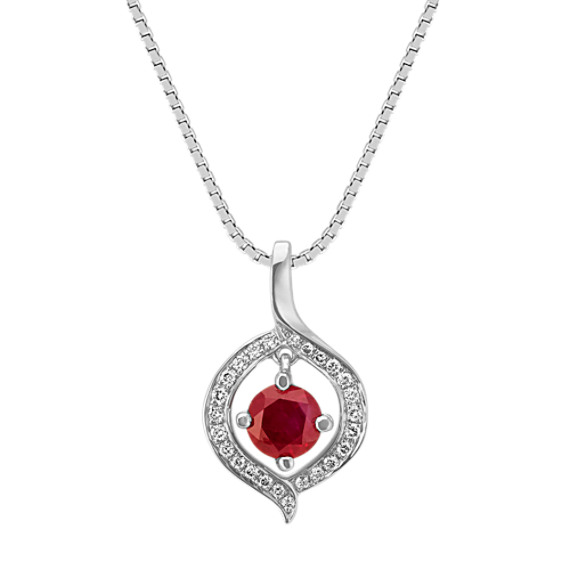 Round Ruby and Diamond Circle Pendant in 14k White Gold (18 in)