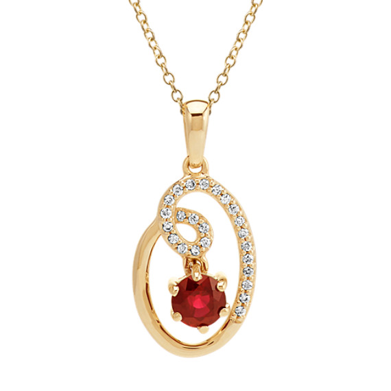 Round Ruby and Diamond Circle and Swirl 14k Yellow Gold Pendant (22 in)