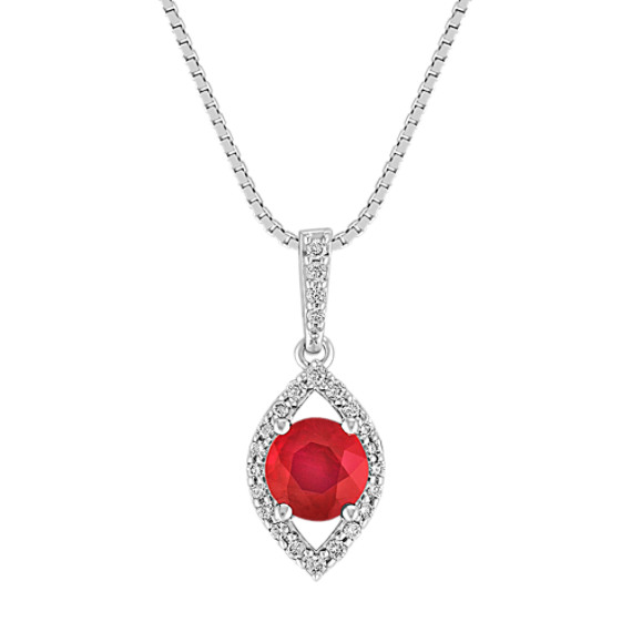 Round Ruby and Diamond Contemporary Pendant (18 in)