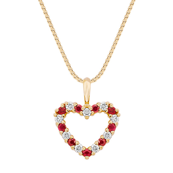 Round Ruby and Diamond Heart Pendant (18 in)