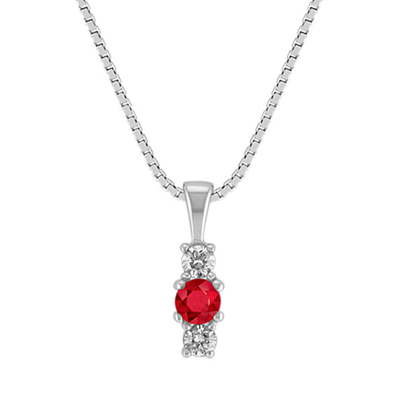Round Ruby and Diamond Three-Stone Pendant (18 in)