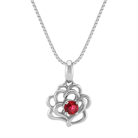 Round Ruby and Sterling Silver Pendant (18 in)