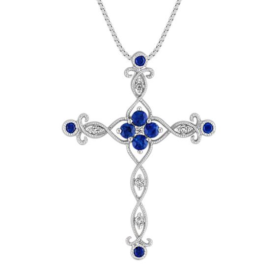 Round Sapphire, Princess Cut and Round Diamond Cross Pendant (18 in)