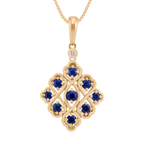 Round Sapphire and Diamond Pendant in 14k Yellow Gold (18 in)