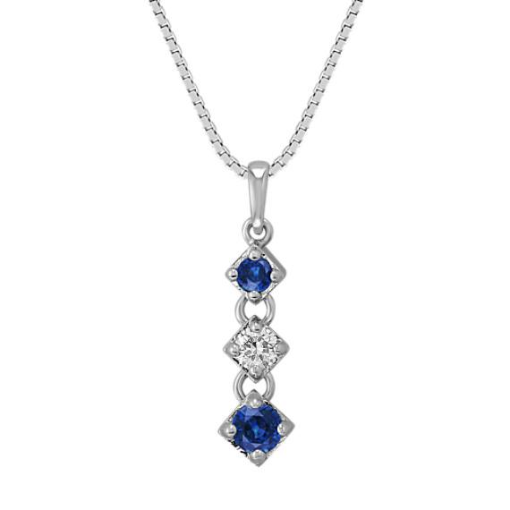 Round Sapphire and Diamond Three-Stone Pendant (18 in)