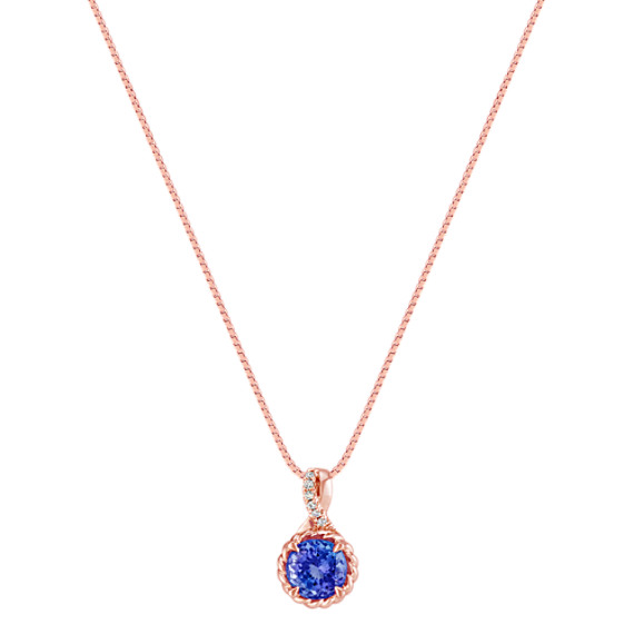Round tanzanite and round diamond 14k rose gold pendant 18 in tap to zoom thumbnail aloadofball Image collections