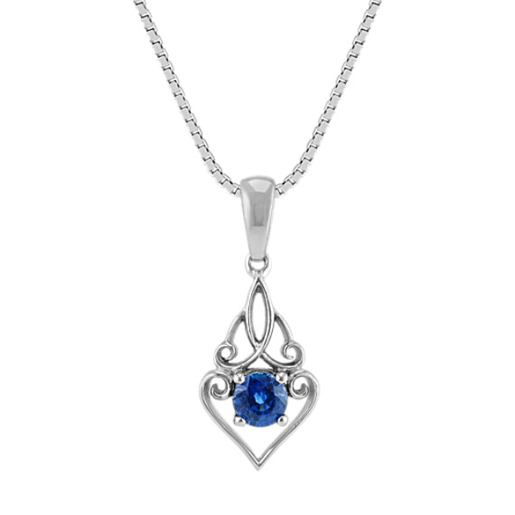 Round Traditional Sapphire Swirl Pendant in Sterling Silver (18 in)