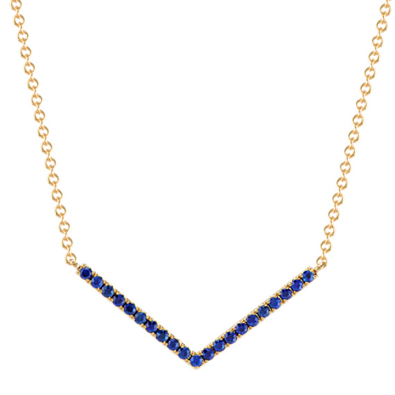 Round Traditional Sapphire V Necklace in 14k Yellow Gold (16 in)