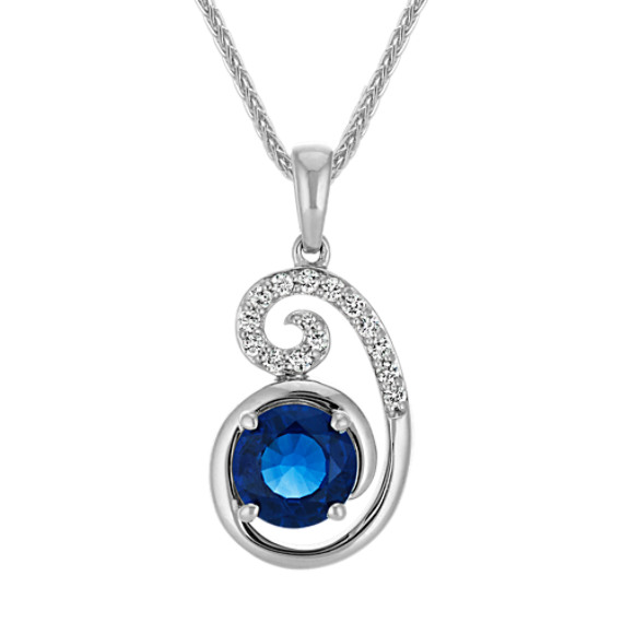 Round Traditional Sapphire and Diamond Curl Pendant (22 in)