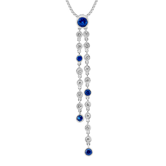 Round Traditional Sapphire and Diamond Pendant with Bezel Setting (18 in)