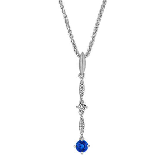 Round Traditional Sapphire and Round Diamond Pendant (18 in)