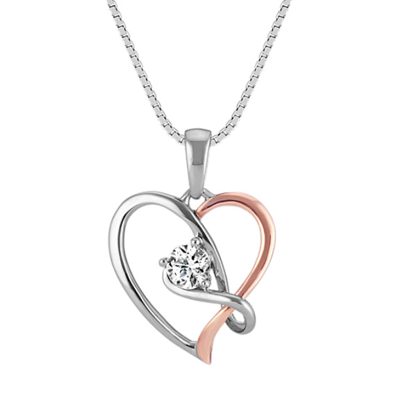 Round White Sapphire Heart Pendant in Rose Gold and Sterling Silver (18 in)