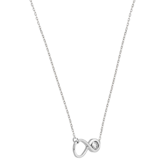 Round White Sapphire Infinity Necklace (18 in) image