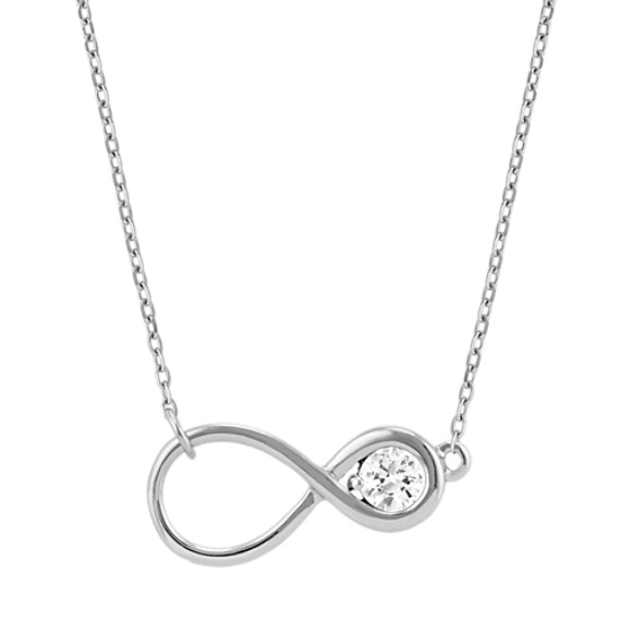 Round White Sapphire Infinity Necklace (18 in)