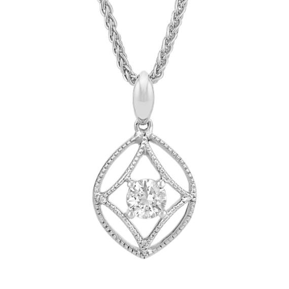 Round White Sapphire Pendant with Milgrain Detailing (18 in)