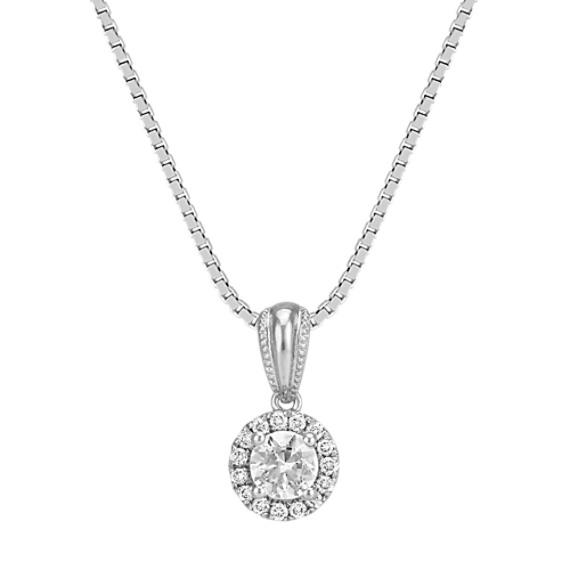 Round White Sapphire and Round Diamond Halo Pendant (18 in)