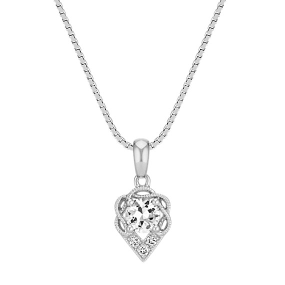 Round White Sapphire and Round Diamond Pendant (18 in)