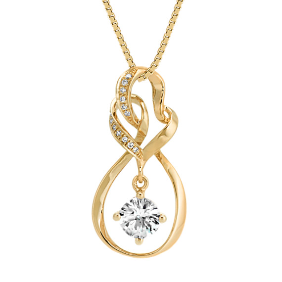 Round White Sapphire and Round Diamond Pendant in 14k Yellow Gold (18 in)