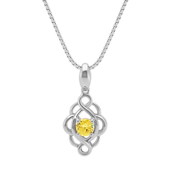 Round Yellow Sapphire Swirl Pendant (18 in)