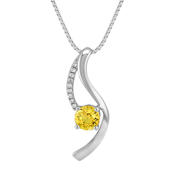 Round Yellow Sapphire and Diamond Pendant (18 in)