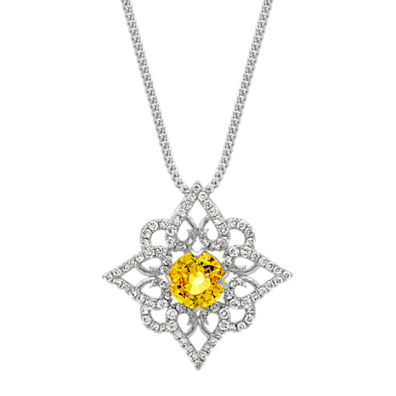 Round Yellow Sapphire and Diamond Star Pendant (20 in)