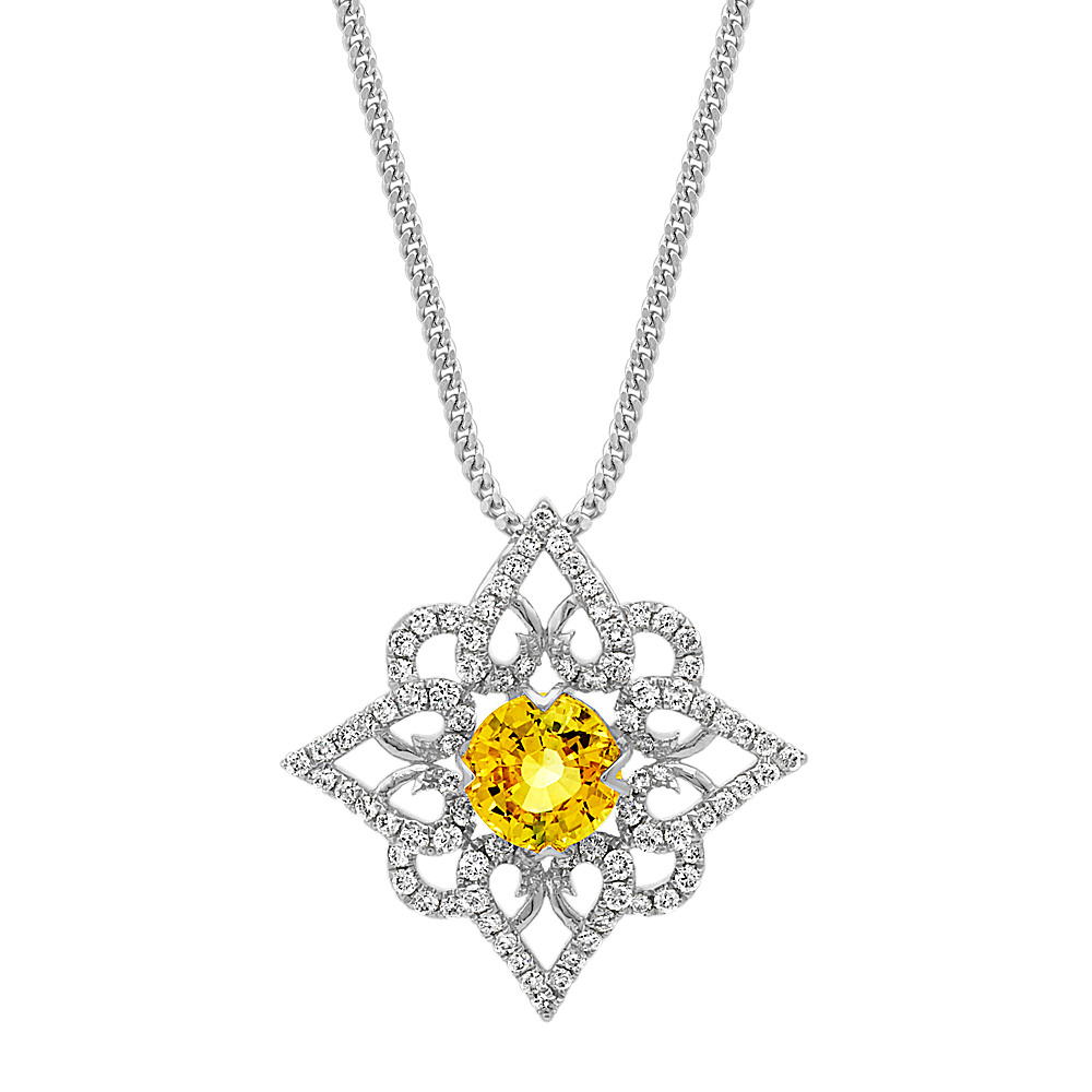 sapphire gold white yellow with created in diamonds pendant