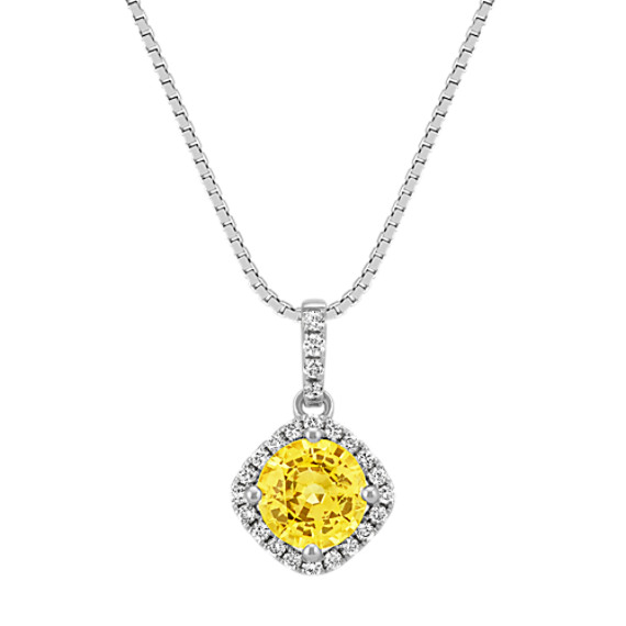Round Yellow Sapphire and Round Diamond Pendant (18 in)