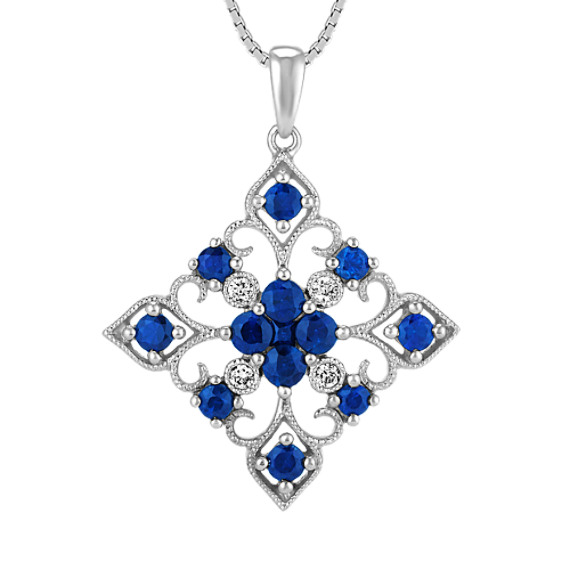Round and Princess Cut Traditional Sapphire and Diamond Pendant (18 in)