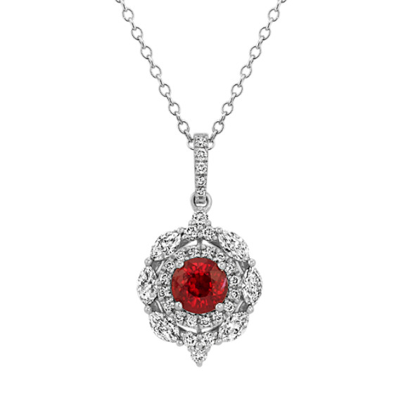 Ruby & Diamond Double-Halo Pendant (22 in)