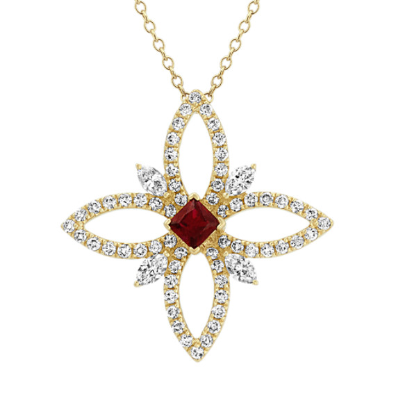 Ruby and Diamond Flower Pendant (22 in)