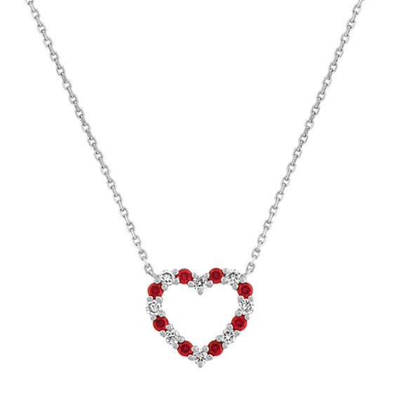 Ruby and Diamond Heart Necklace (18 in)