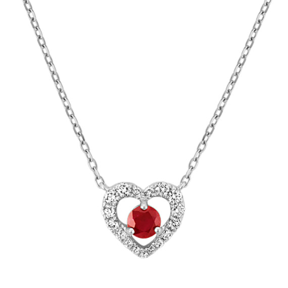 Ruby and Diamond Heart Necklace in Sterling Silver (18 in)