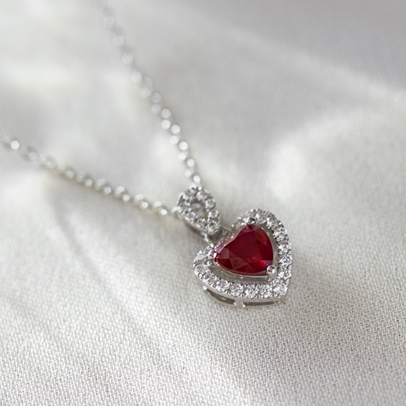 f1ca85928 Ruby and Diamond Heart Pendant in White Gold (22 in) | Shane Co.