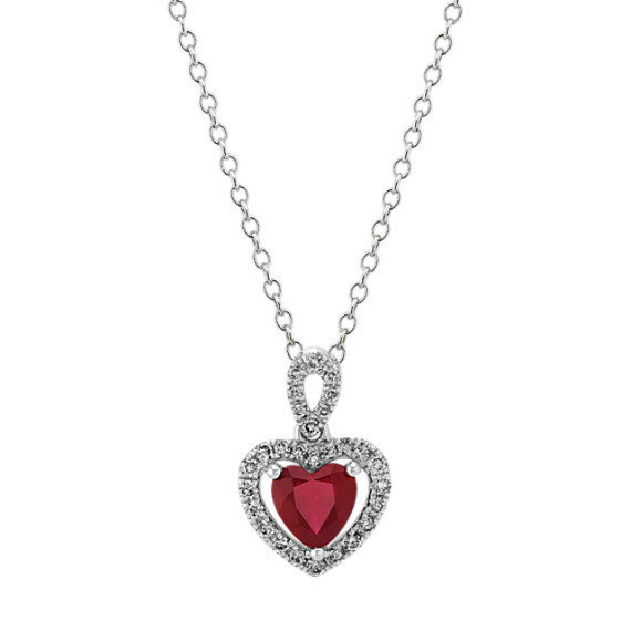 Ruby and Diamond Heart Pendant in White Gold (22 in)