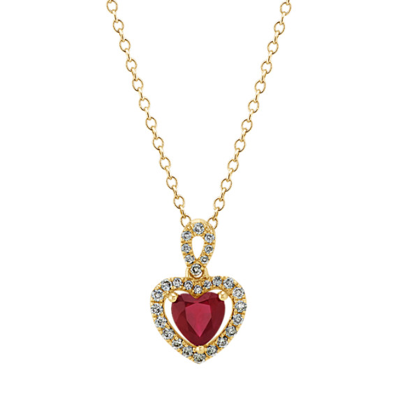 Ruby & Diamond Heart Pendant in Yellow Gold (22 in)
