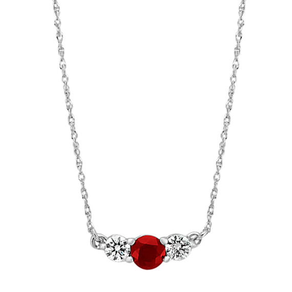 Ruby and Diamond Necklace (18 in)