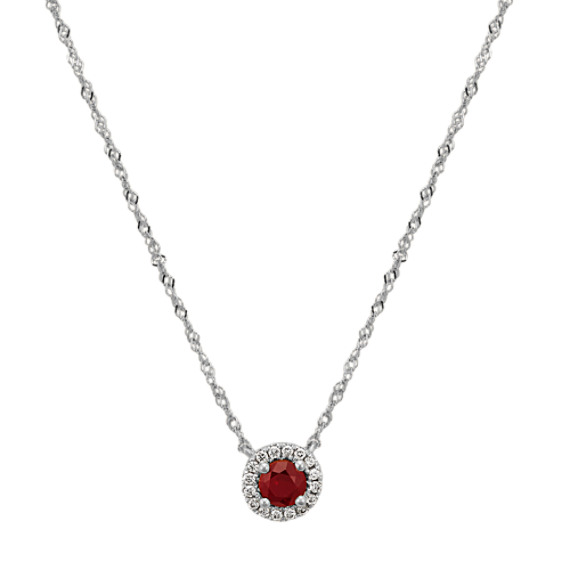 Ruby and Diamond Necklace in 14k White Gold (18 in.)