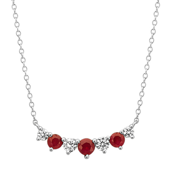 Ruby & Diamond Necklace in 14k White Gold (18 in)