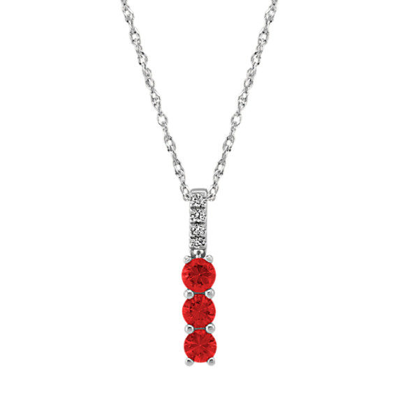 Ruby and Diamond Pendant in 14k White Gold (18 in)