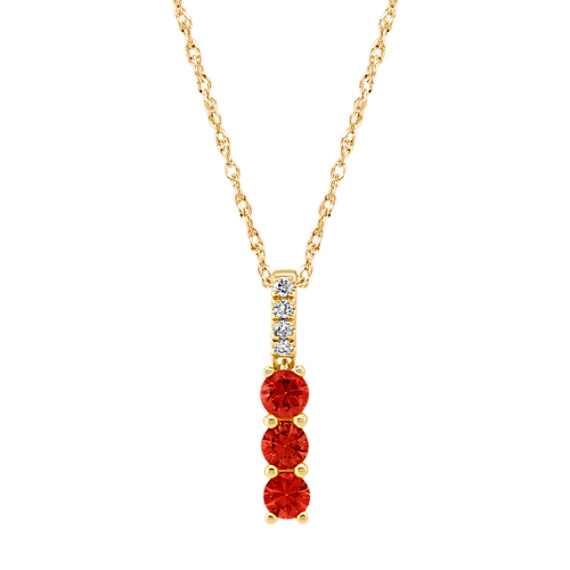Ruby and Diamond Pendant in 14k Yellow Gold (18 in)