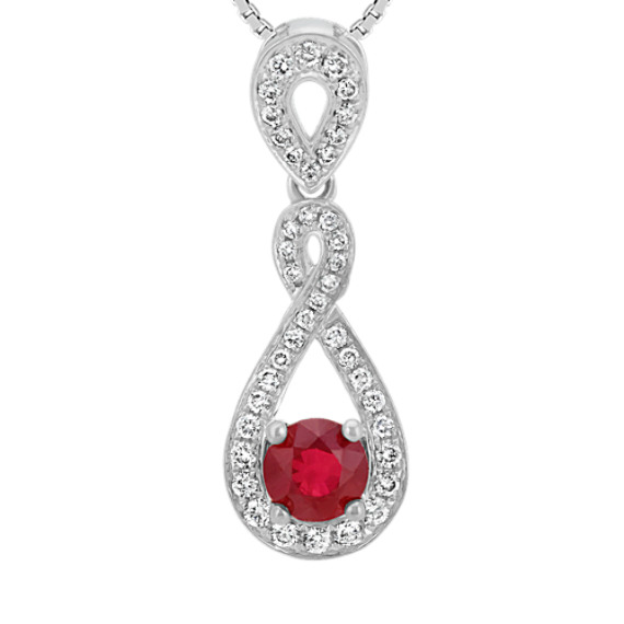 Ruby and Diamond Swirl Pendant (18 in)