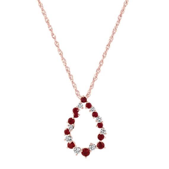 Ruby and Diamond Teardrop Pendant (20 in)