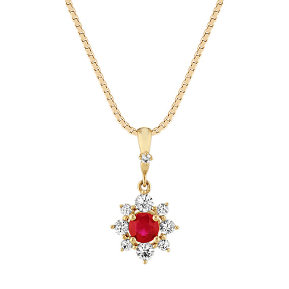 Ruby and White Sapphire Pendant (18 in)