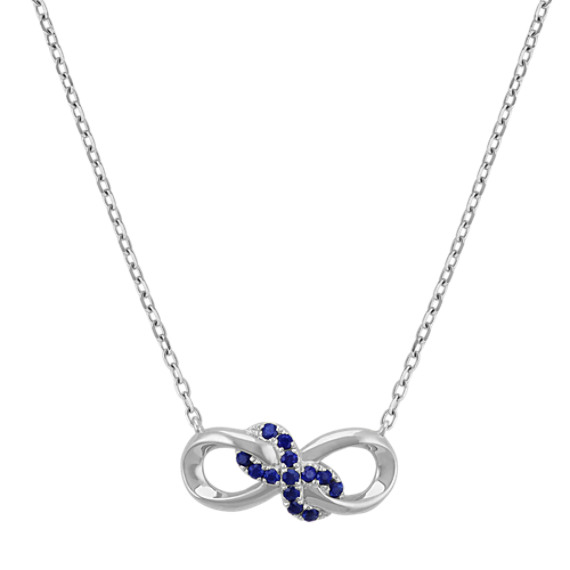 Sapphire Infinity Necklace in Sterling Silver (18 in)