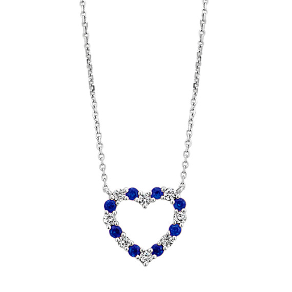 Sapphire and Diamond Heart Necklace (18 in.)
