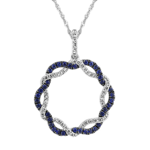 Sapphire and Diamond Twisted Circle Pendant (20 in)