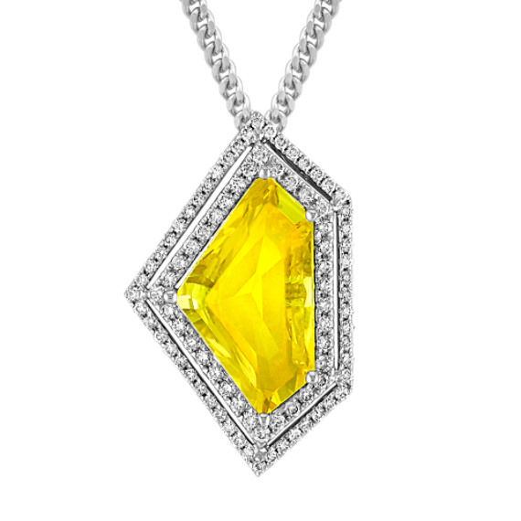 Shield Shaped Yellow Sapphire and Round Diamond Pendant (18 in)