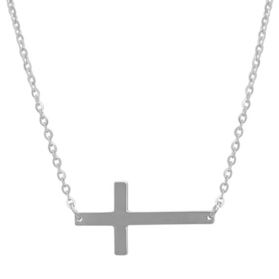 Sideways Cross Necklace in 14k White Gold (18 in)