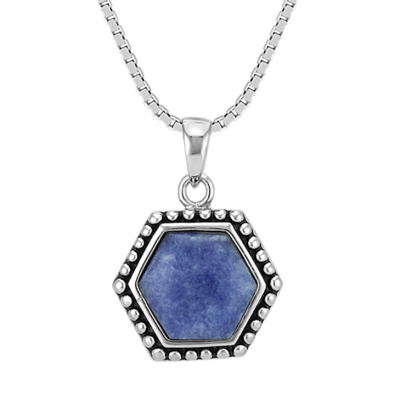 Sodalite and Sterling Silver Pendant (18 in)